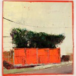 Red Fence, Oil on prepared card, 29.5 x 30.5 cm, 2011