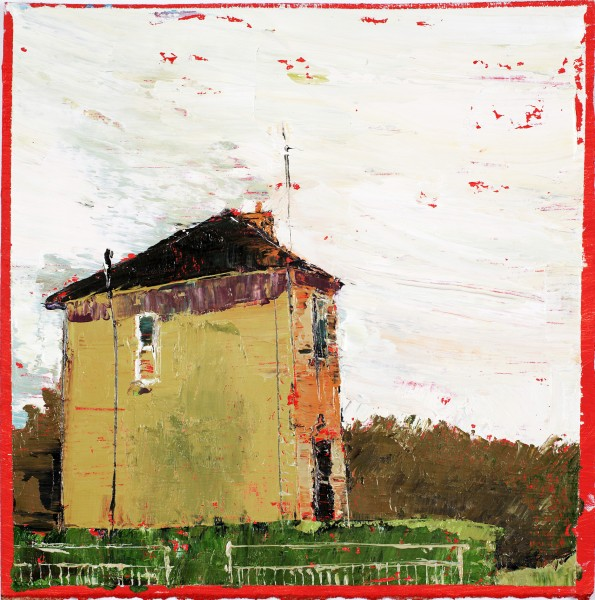 Skinny House, Oil on prepared card, 25.5 x 25.5cm, 2011