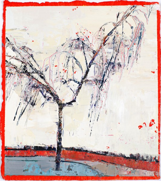 Sunny Little Bare Birch, Oil on prepared card, 16.5 x 14.5cm, 2011