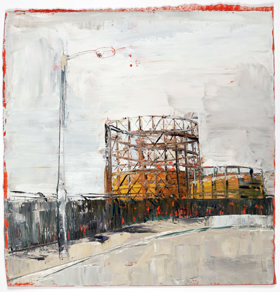 Gasometer, 28 x 28 cm, oil on prepared paper, 2008
