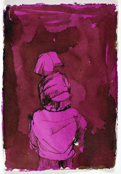 Untitled - On Shoulders, 21 x 15 cm, ink on paper, 2008