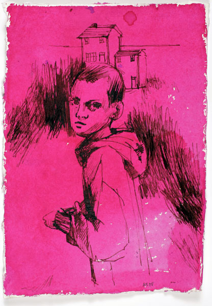 Untitled - Pink Profile, 21 x 15 cm, ink on paper, 2008