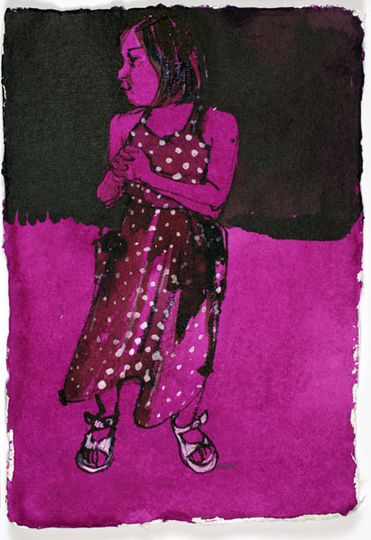Untitled - Pink Polka Dot, 21 x 15 cm, ink and gouache on paper, 2008