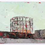 Early Evening Gasometer, 10.5 x 15 cm, Oil on board