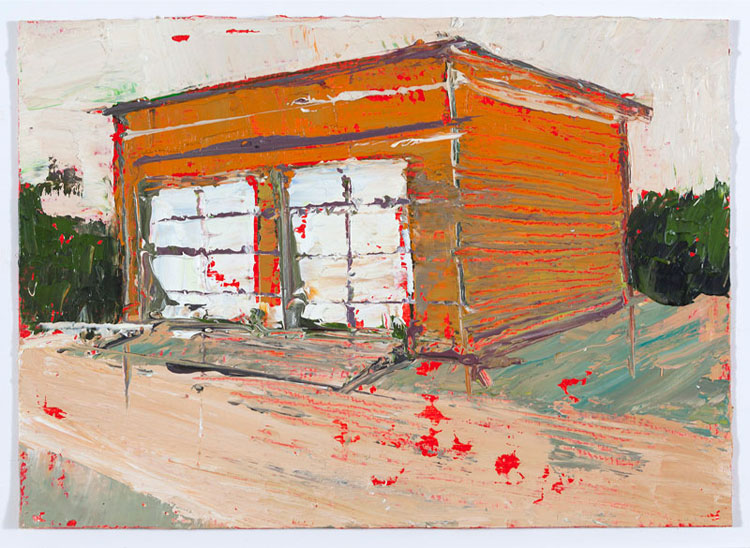 Twin Garage, 10.5 x 14.5 cm, Oil on prepared card, 2012