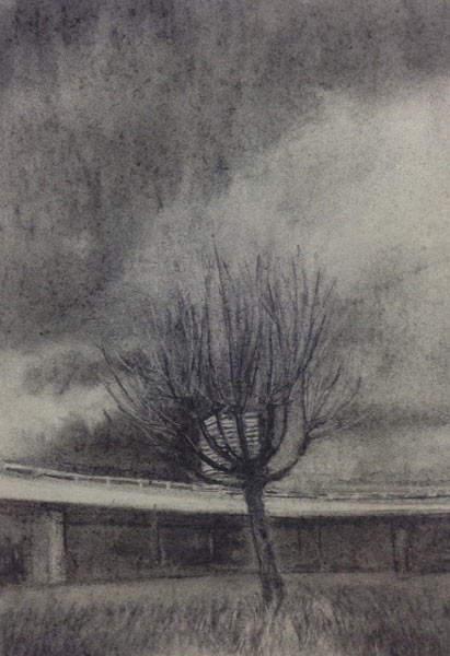 Westway Plane, 29 x 21 cm, Charcoal on paper, 2015