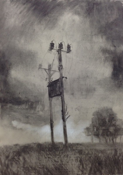 Power Supply, Charcoal on Paper, 80 x 64 cm, 2014