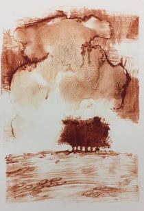 Clump, 27 x 18.5 cm, mono print, 2017